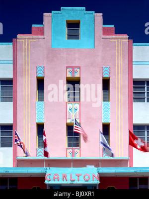 Carlton Hotel Art Deco architectural style building in the revitalized South Beach, Miami, Florida, USA