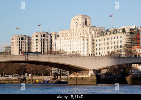 Waterloo Bridge and Shell Mex House and the Savoy Hotel - Stock Photo