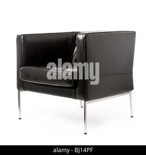 Side and front angle view of modern black leather and chrome armchair on white background, shot in studio - Stock Photo