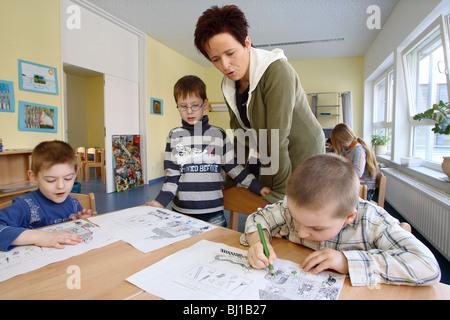 Education in a pre school, Berlin, Germany - Stock Photo