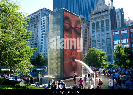 Crown Fountain, Chicago, Illinois. Interactive fountain designed by artist Jaume Plensa. Faces made with light emitting - Stock Photo