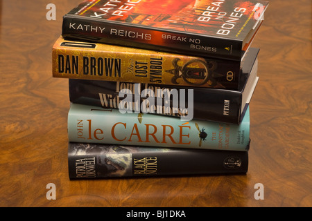 Stack of best selling books on a table - Stock Photo