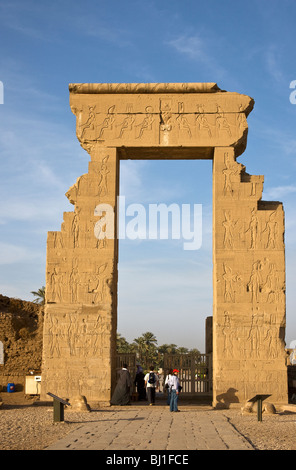 Entrance to the Dendera Temple complex. - Stock Photo