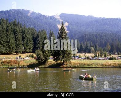 Lake scene, Poiana Brasov, Near Brasov, Brasov County, Transylvania, Romania - Stock Photo