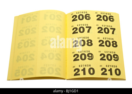 perforated ticket isolated on white background with copy space stock