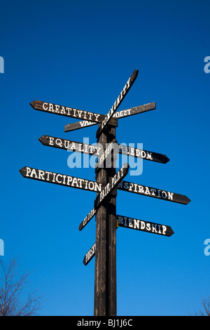 Black & White painted Wooden School Sign on Pole   Motivational signpost pointers and Signage at Southport, Merseyside, - Stock Photo