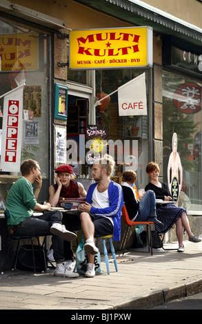 Multi Kulti Café & Record Shop, Södermalm, Stockholm, Sweden - Stock Photo