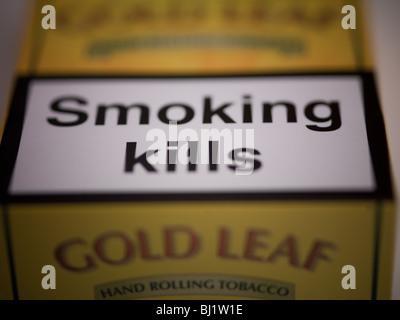 Tobacco health warning. - Stock Photo