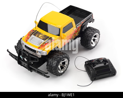 Radio remote controlled truck toy car. Isolated on white background. - Stock Photo