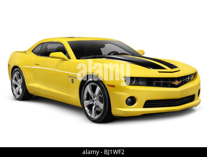 Yellow 2010 Chevrolet Camaro 2SS Coupe sports car isolated on white background with clipping path - Stock Photo