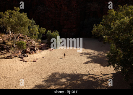 single tourist walking through Trephina Gorge Nature Park in the East MacDonnell Ranges, Northern Territory, Australia - Stock Photo