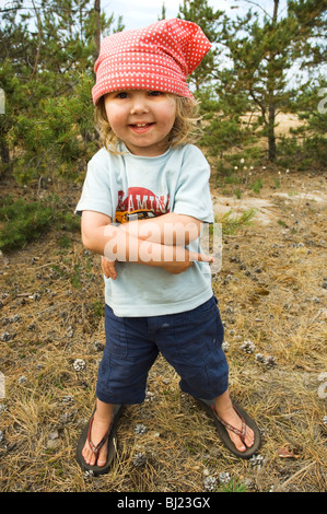 Portrait of a little girl in the nature, Sweden. - Stock Photo