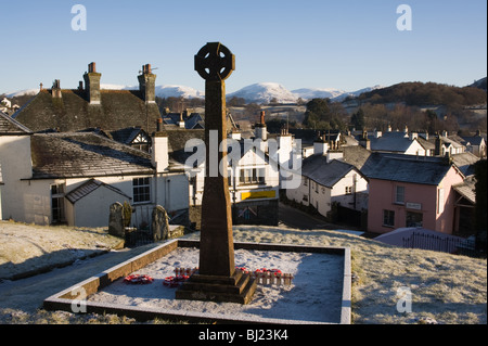 The Great War Memorial Overlooking Hawkshead Village on a Clear Winter Morning Lake District Cumbria England United - Stock Photo