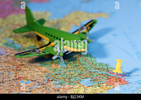 Airplane model on the map,still life - Stock Photo