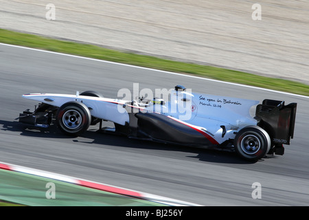Pedro de la Rosa driving for the 2010 BMW Sauber F1 Team at the Montmelo circuit, Barcelona, Spain - Stock Photo