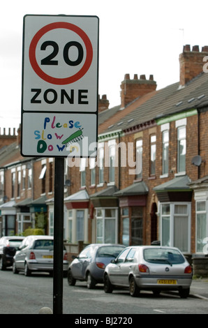 A 20 mile per hour sign in a street in Hull, UK. - Stock Photo