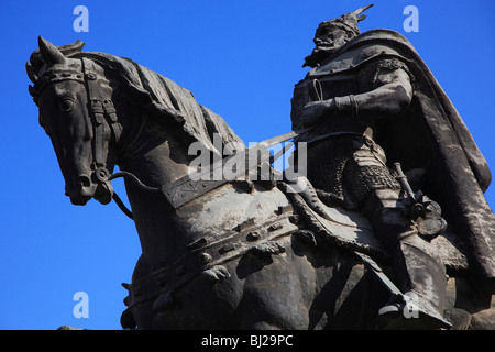 Statue of Skanderbeg, Tirana, Albania, Europe - Stock Photo