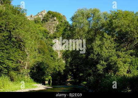 Eifel, Ahrtal bei Bonn romantische Ahr bei Altenahr - Stock Photo