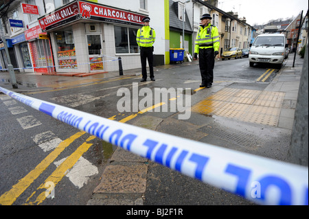 Police community support officers on the scene of a serious incident in Brighton