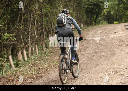Lone Mountain bike racer in the Mendip hills of Somerset near Cheddar, 30th September 2007 - Stock Photo