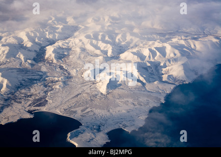Aerial view of frozen land in the North Pole - Stock Photo