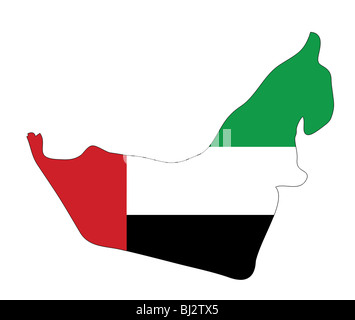 United Arab Emirates map with national colors - Stock Photo