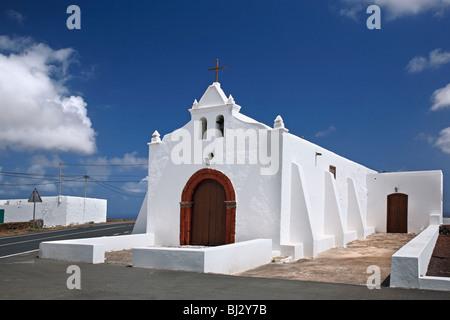 White chapel near Tinajo, Lanzarote, Canary Islands, Spain - Stock Photo