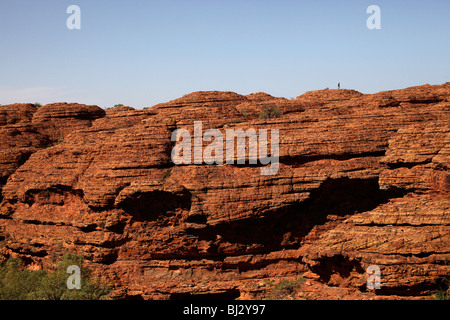 tourist at the rim of Kings Canyon, part of the Watarrka National Park , Northern Territory, Australia - Stock Photo