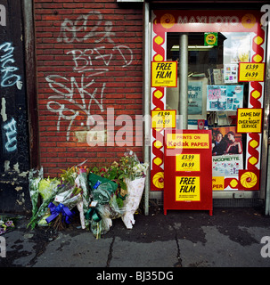 A memorial has been placed where a man called Dennis died on the A227 Coldharbour Lane, London, England, - Stock Photo