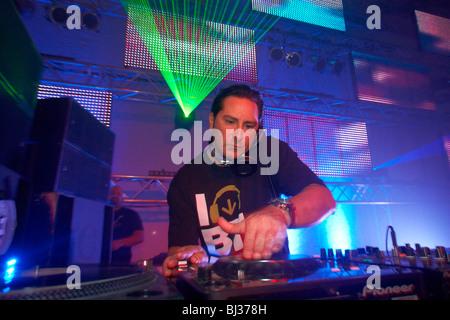 DJ Bad Boy Bill, Winter World 2010, techno festival in Sports Hall Oberwerth, Koblenz, Rhineland-Palatinate, Germany, - Stock Photo