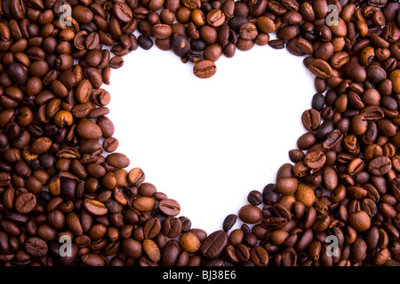 Heart of coffee beans. Shot in studio. - Stock Photo
