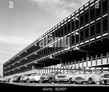 Doncaster North Bus Station car park, South Yorkshire, 1967.  Artist: Michael Walters - Stock Photo