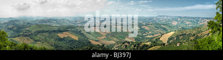 Panorama of the hills around Ripatransone in Le Marche - Stock Photo