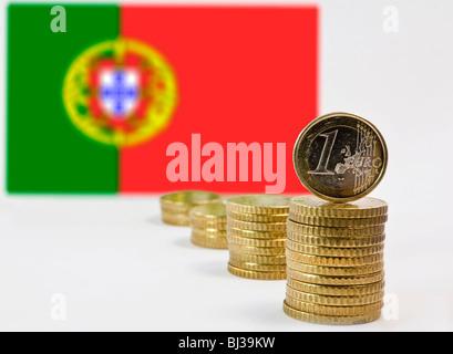 Portuguese flag, Portugal and the Euro - Stock Photo