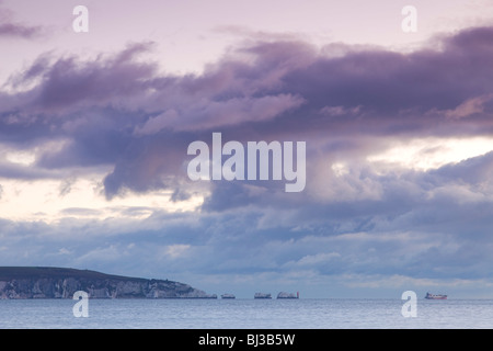gathering storm over the Needles,Isle of Wight,at dusk - Stock Photo