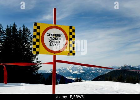 Blocked-off skislope, Winkelmoosalm, Bavaria, Germany, Europe - Stock Photo