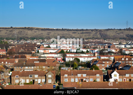 High view of council houses estate near Portsmouth - Stock Photo