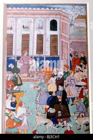 Akbar or Jahangir receiving gifts from guests, Mughal painting, India. Artist: Werner Forman - Stock Photo