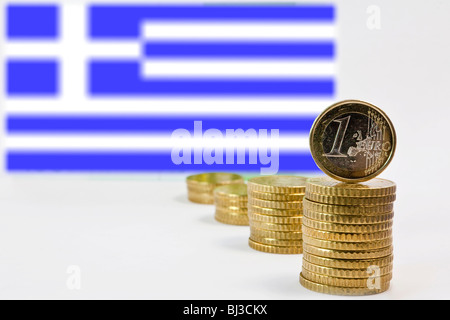 Greek flag, Greece and the Euro - Stock Photo