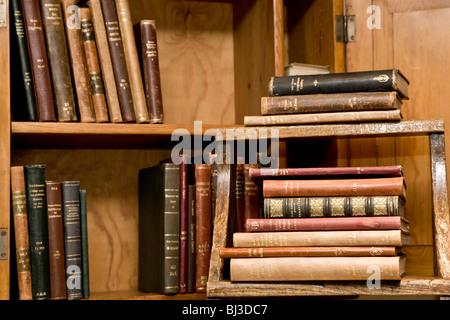 Old books in a shelf - Stock Photo