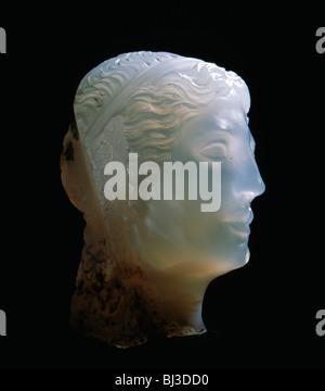 Hellenistic alabaster female head, Greece, 3rd century BC. Artist: Werner Forman - Stock Photo