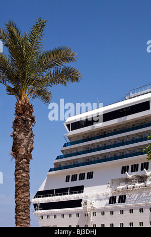 A cruise ship and palm tree in the harbour at Valletta the capital of Malta - Stock Photo