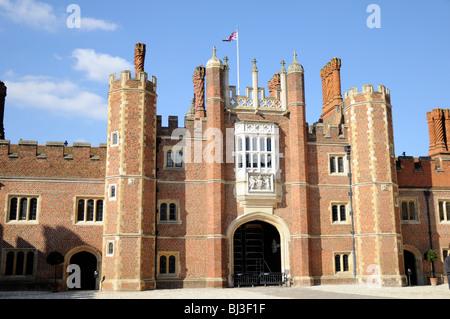 Hampton Court, Great Gatehouse as seen from inside Base Court, London, UK - Stock Photo