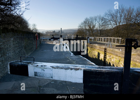 The view from Bingley Five-Rise Locks, a famous feature on the Leeds-Liverpool canal, looking towards Bingley in - Stock Photo