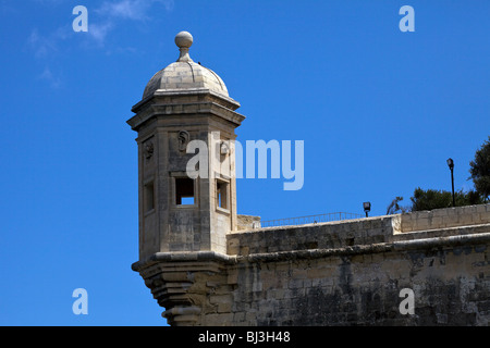 The Vedette sentry box or watchtower in the Garjola gardens in Senglea, Malta, was used by the Knights of St. John - Stock Photo