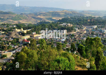 Overlooking Gonder, Gondar, Amhara, Ethiopia, Africa - Stock Photo
