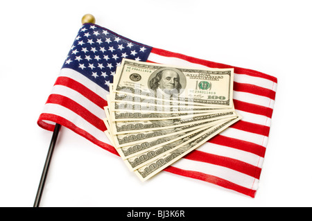 money with American Flag - Stock Photo