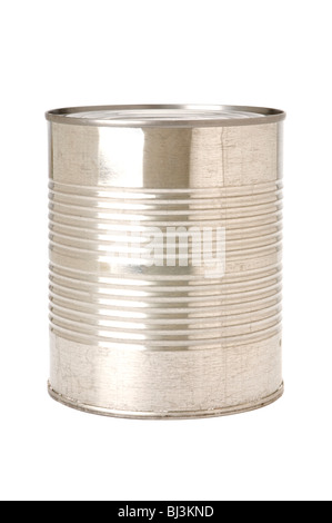 tin cans on white background - Stock Photo