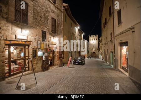 Street at night, Montefalco, Umbria, Italy, Europe - Stock Photo