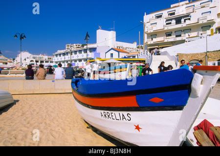 Beach with fishing boats, Carvoeiro, Algarve, Portugal, Europe - Stock Photo